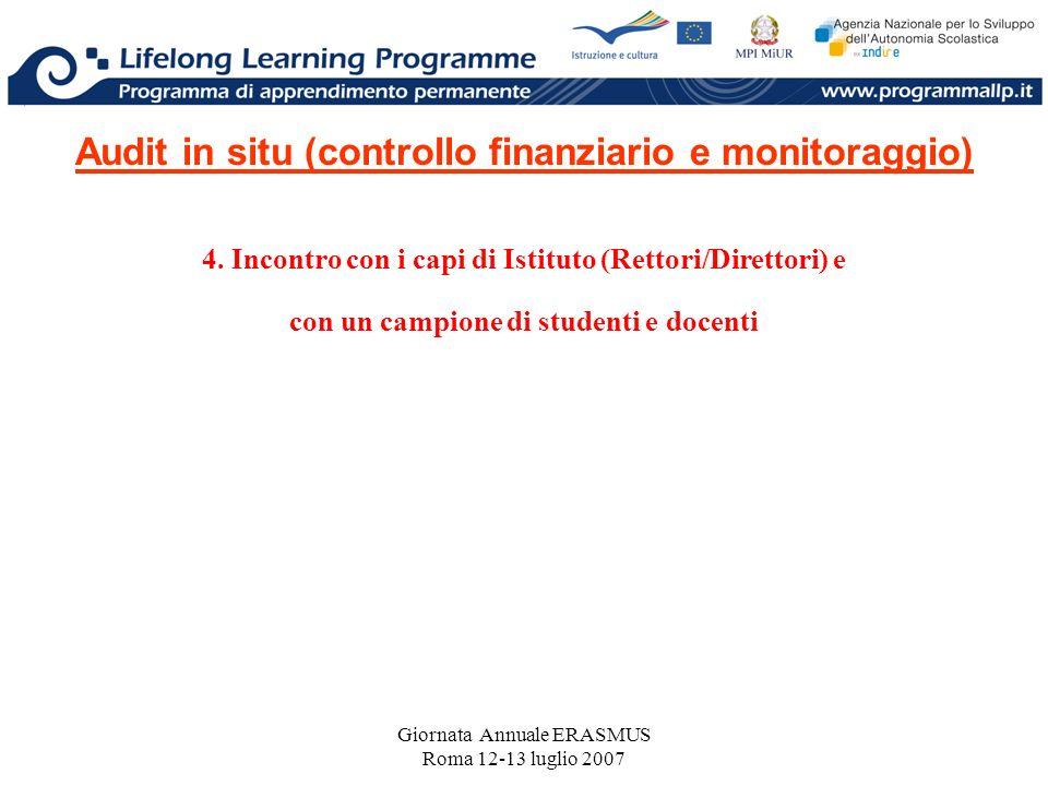 Giornata Annuale ERASMUS Roma 12-13 luglio 2007 Audit in situ (controllo finanziario e monitoraggio) 4. Incontro con i capi di Istituto (Rettori/Diret