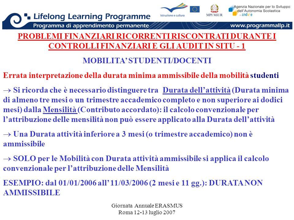 Giornata Annuale ERASMUS Roma 12-13 luglio 2007 PROBLEMI FINANZIARI RICORRENTI RISCONTRATI DURANTE I CONTROLLI FINANZIARI E GLI AUDIT IN SITU - 1 MOBI