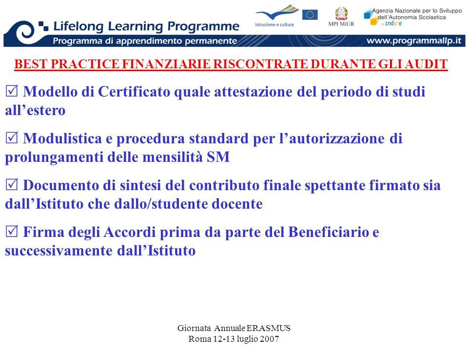 Giornata Annuale ERASMUS Roma 12-13 luglio 2007 BEST PRACTICE FINANZIARIE RISCONTRATE DURANTE GLI AUDIT Modello di Certificato quale attestazione del