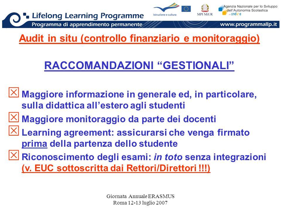 Giornata Annuale ERASMUS Roma 12-13 luglio 2007 Audit in situ (controllo finanziario e monitoraggio) RACCOMANDAZIONI GESTIONALI Maggiore informazione