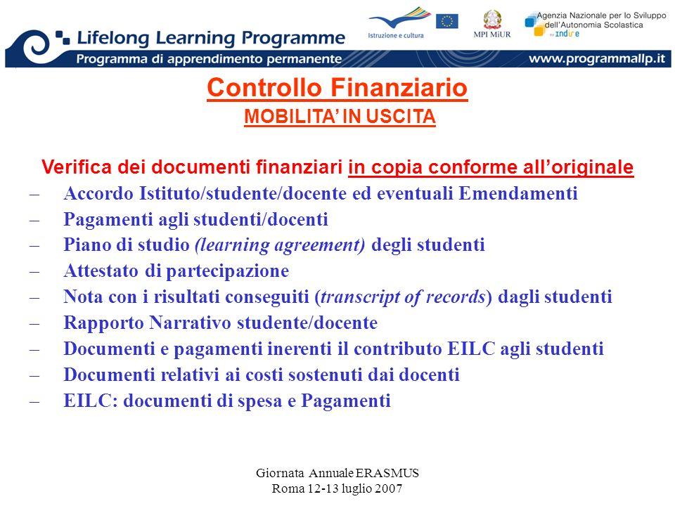 Giornata Annuale ERASMUS Roma 12-13 luglio 2007 Controllo Finanziario MOBILITA IN USCITA Verifica dei documenti finanziari in copia conforme allorigin