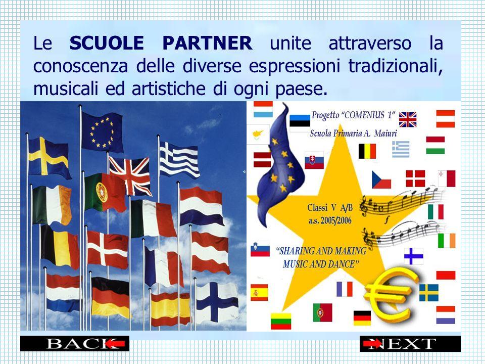 Le SCUOLE PARTNER unite attraverso la conoscenza delle diverse espressioni tradizionali, musicali ed artistiche di ogni paese.