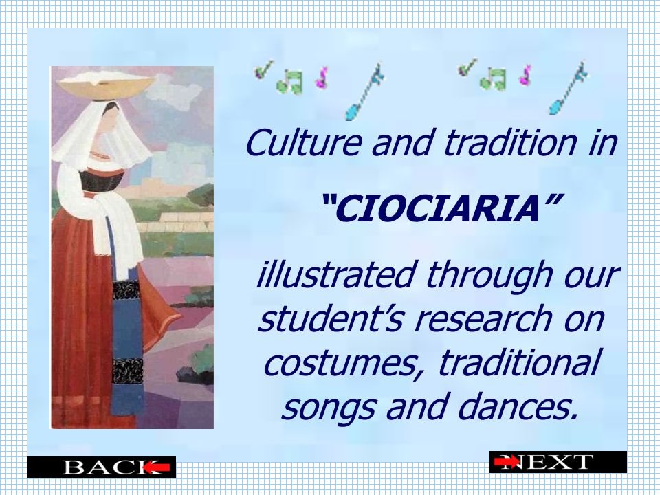 Culture and tradition in CIOCIARIA illustrated through our students research on costumes, traditional songs and dances.