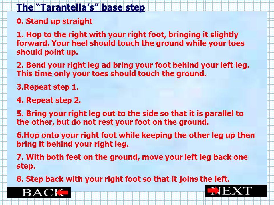 The Tarantellas base step 0.Stand up straight 1.