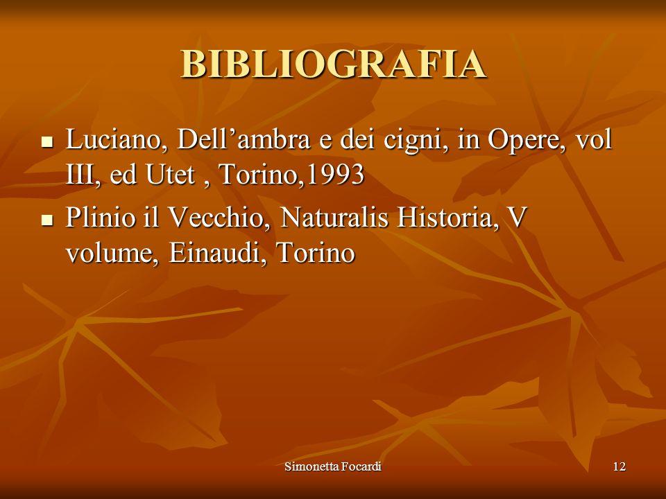 Simonetta Focardi12 BIBLIOGRAFIA Luciano, Dellambra e dei cigni, in Opere, vol III, ed Utet, Torino,1993 Luciano, Dellambra e dei cigni, in Opere, vol