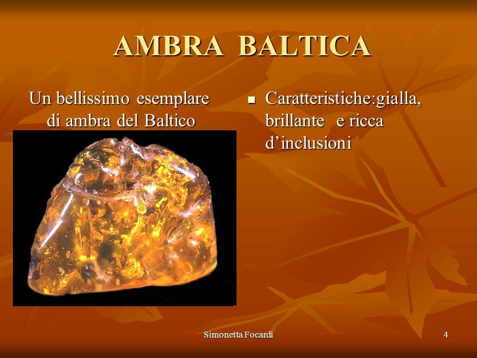 Simonetta Focardi4 Un bellissimo esemplare di ambra del Baltico AMBRA BALTICA AMBRA BALTICA Caratteristiche:gialla, brillante e ricca dinclusioni Cara