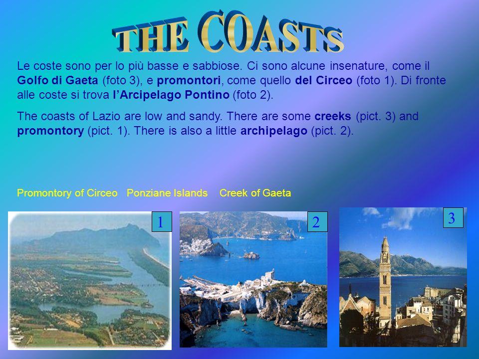 Le coste sono per lo più basse e sabbiose. Ci sono alcune insenature, come il Golfo di Gaeta (foto 3), e promontori, come quello del Circeo (foto 1).