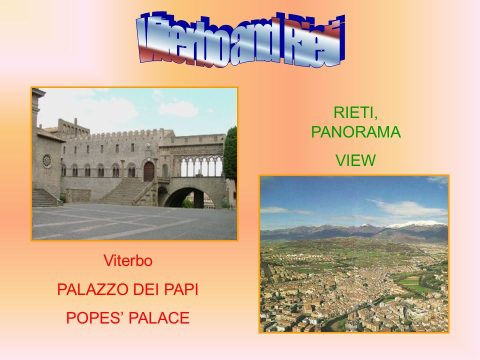 Viterbo PALAZZO DEI PAPI POPES PALACE RIETI, PANORAMA VIEW