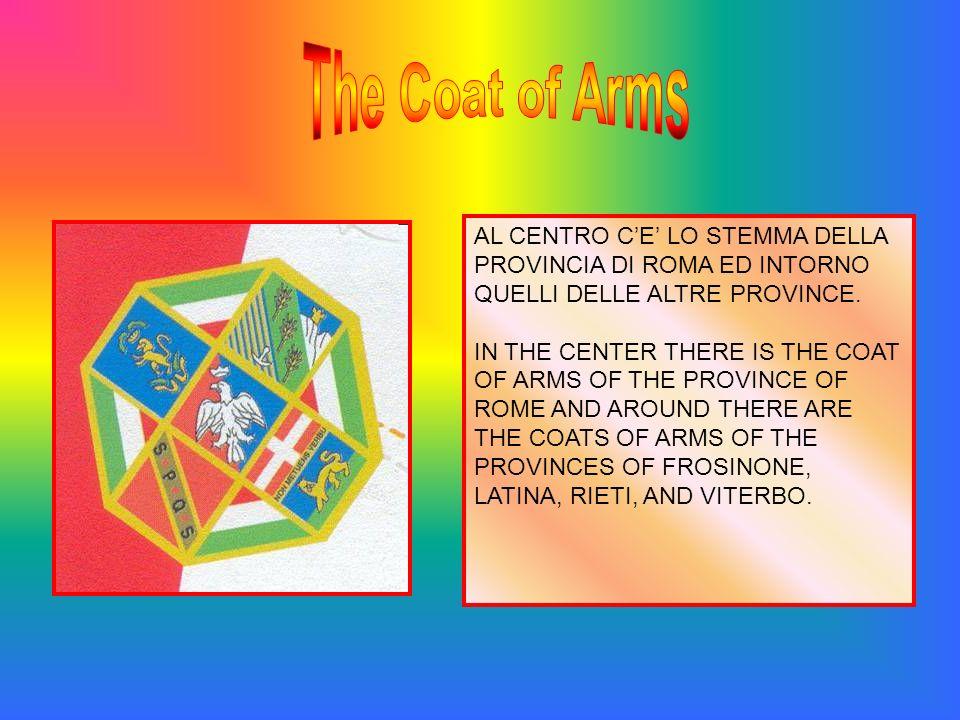 AL CENTRO CE LO STEMMA DELLA PROVINCIA DI ROMA ED INTORNO QUELLI DELLE ALTRE PROVINCE. IN THE CENTER THERE IS THE COAT OF ARMS OF THE PROVINCE OF ROME