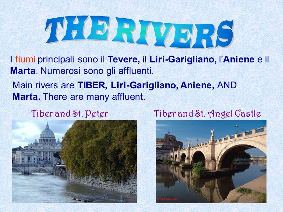 I fiumi principali sono il Tevere, il Liri-Garigliano, lAniene e il Marta. Numerosi sono gli affluenti. Main rivers are TIBER, Liri-Garigliano, Aniene