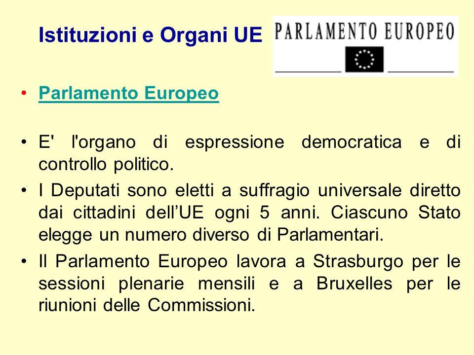 Istituzioni e Organi UE Parlamento Europeo E' l'organo di espressione democratica e di controllo politico. I Deputati sono eletti a suffragio universa