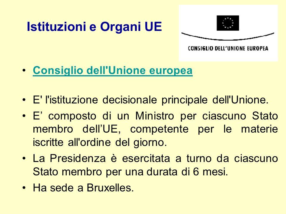 Istituzioni e Organi UE Consiglio dell'Unione europea E' l'istituzione decisionale principale dell'Unione. E composto di un Ministro per ciascuno Stat