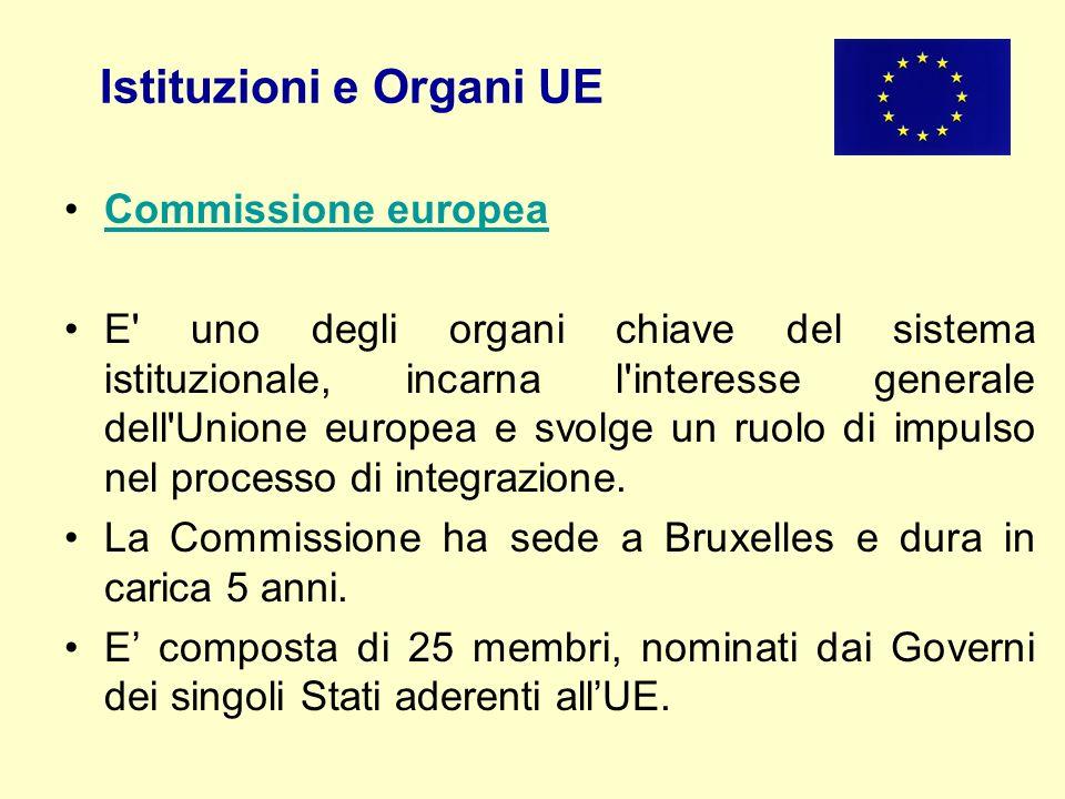 Istituzioni e Organi UE Commissione europea E' uno degli organi chiave del sistema istituzionale, incarna l'interesse generale dell'Unione europea e s