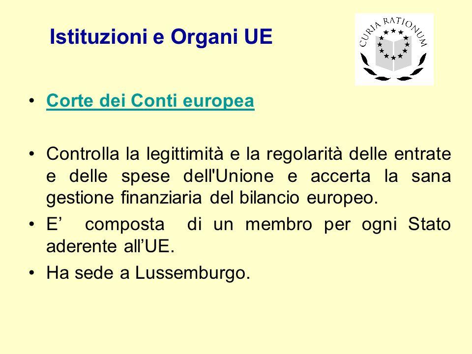 Istituzioni e Organi UE Corte dei Conti europea Controlla la legittimità e la regolarità delle entrate e delle spese dell'Unione e accerta la sana ges
