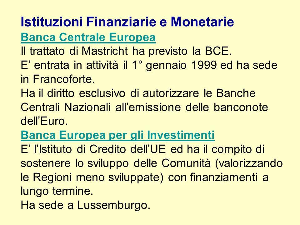 Istituzioni Finanziarie e Monetarie Banca Centrale Europea Il trattato di Mastricht ha previsto la BCE. E entrata in attività il 1° gennaio 1999 ed ha