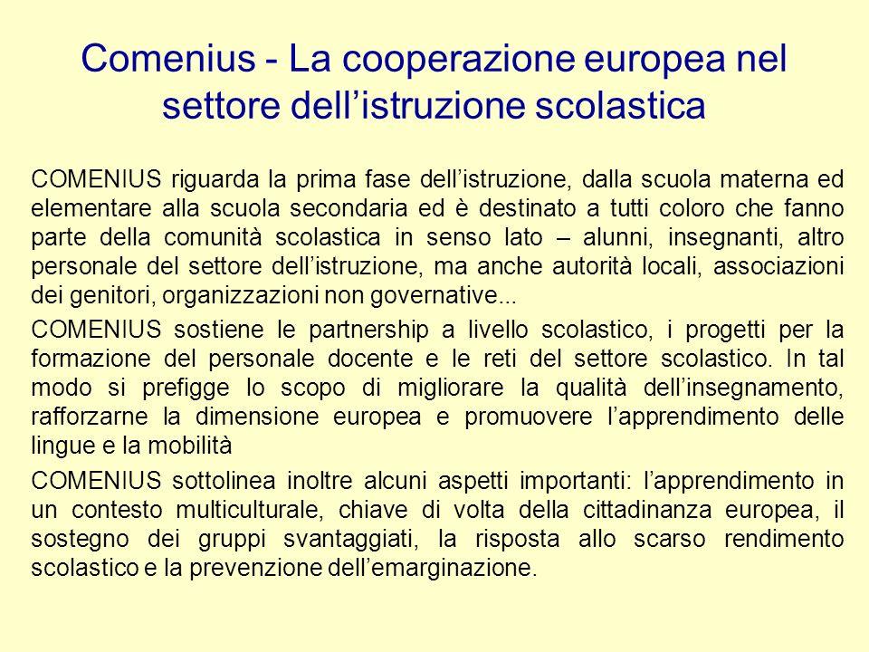 Comenius - La cooperazione europea nel settore dellistruzione scolastica COMENIUS riguarda la prima fase dellistruzione, dalla scuola materna ed eleme