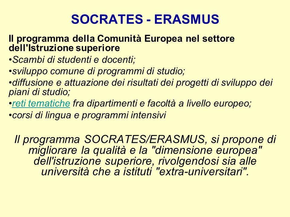 SOCRATES - ERASMUS Il programma della Comunità Europea nel settore dell'Istruzione superiore Scambi di studenti e docenti; sviluppo comune di programm