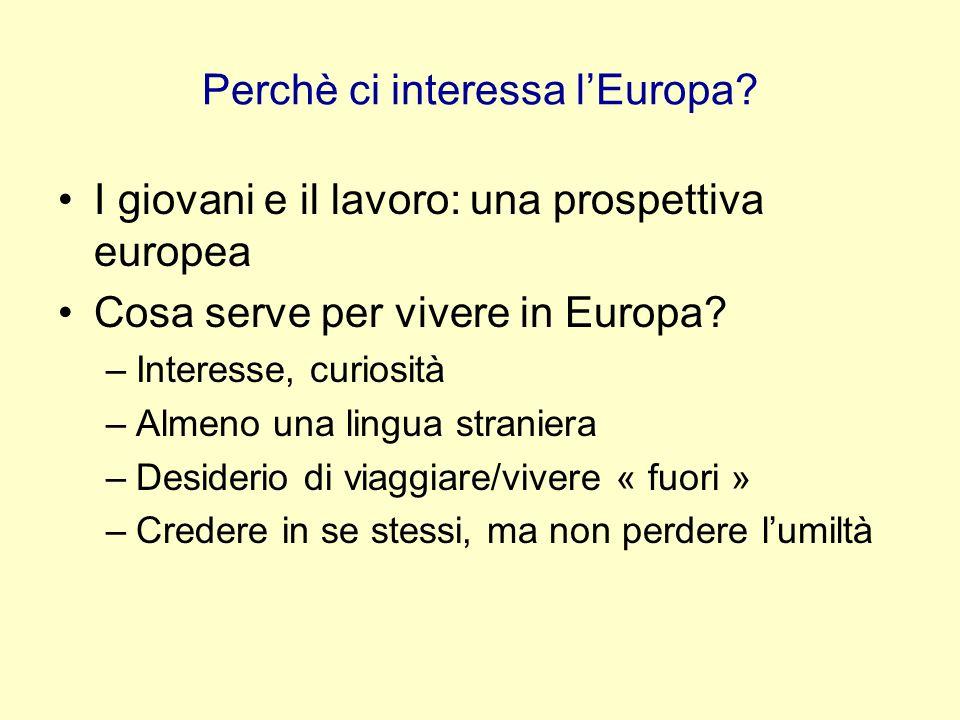 Perchè ci interessa lEuropa? I giovani e il lavoro: una prospettiva europea Cosa serve per vivere in Europa? –Interesse, curiosità –Almeno una lingua