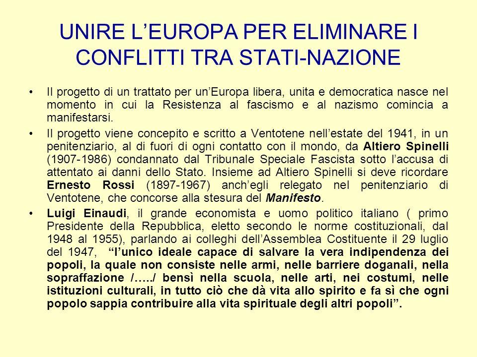 UNIRE LEUROPA PER ELIMINARE I CONFLITTI TRA STATI-NAZIONE Il progetto di un trattato per unEuropa libera, unita e democratica nasce nel momento in cui