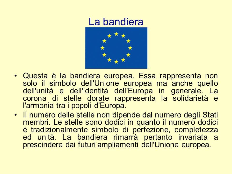 La bandiera Questa è la bandiera europea. Essa rappresenta non solo il simbolo dell'Unione europea ma anche quello dell'unità e dell'identità dell'Eur