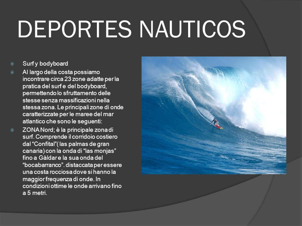 DEPORTES NAUTICOS Surf y bodyboard Al largo della costa possiamo incontrare circa 23 zone adatte per la pratica del surf e del bodyboard, permettendo lo sfruttamento delle stesse senza massificazioni nella stessa zona.