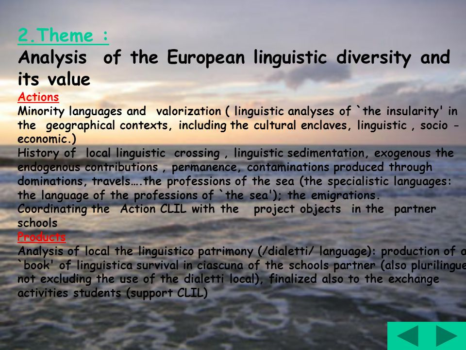 2.Theme : Analysis of the European linguistic diversity and its value Actions Minority languages and valorization ( linguistic analyses of `the insula