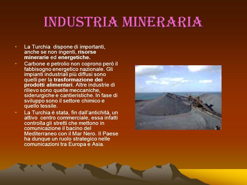 INDUSTRIA MINERARIA La Turchia dispone di importanti, anche se non ingenti, risorse minerarie ed energetiche. Carbone e petrolio non coprono però il f