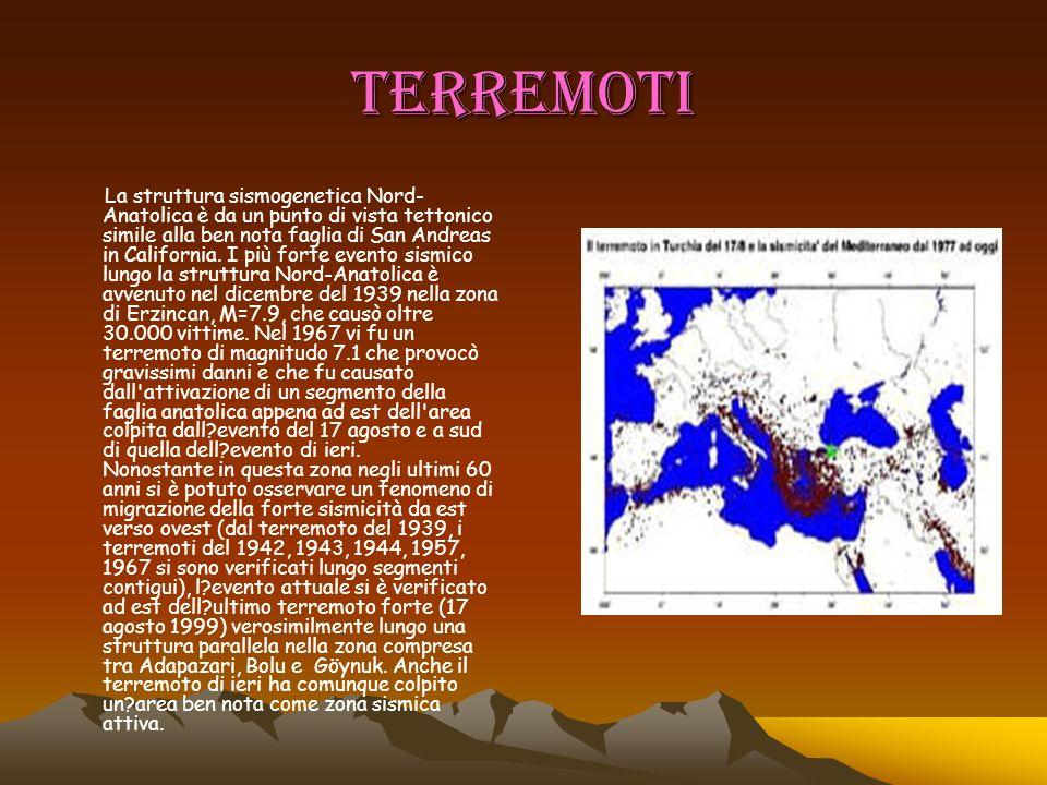 TERREMOTI La struttura sismogenetica Nord- Anatolica è da un punto di vista tettonico simile alla ben nota faglia di San Andreas in California. I più