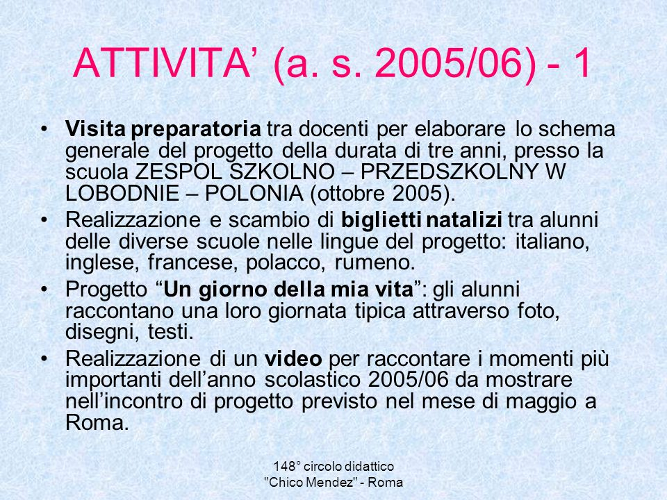 148° circolo didattico Chico Mendez - Roma ATTIVITA (a.