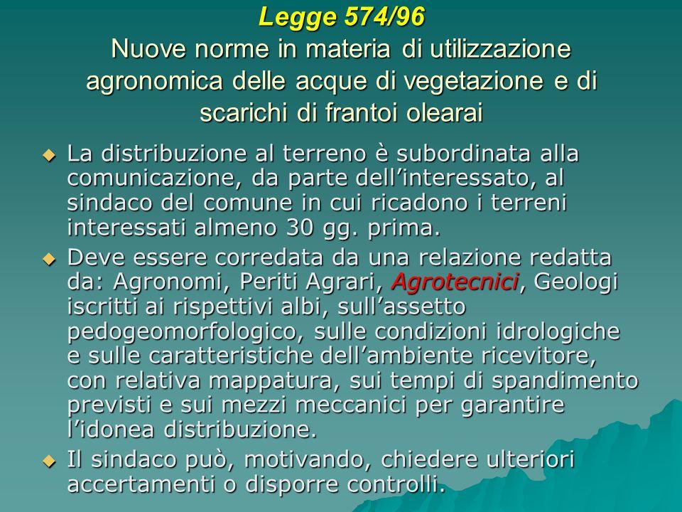 Legge 574/96 Nuove norme in materia di utilizzazione agronomica delle acque di vegetazione e di scarichi di frantoi olearai La distribuzione al terren