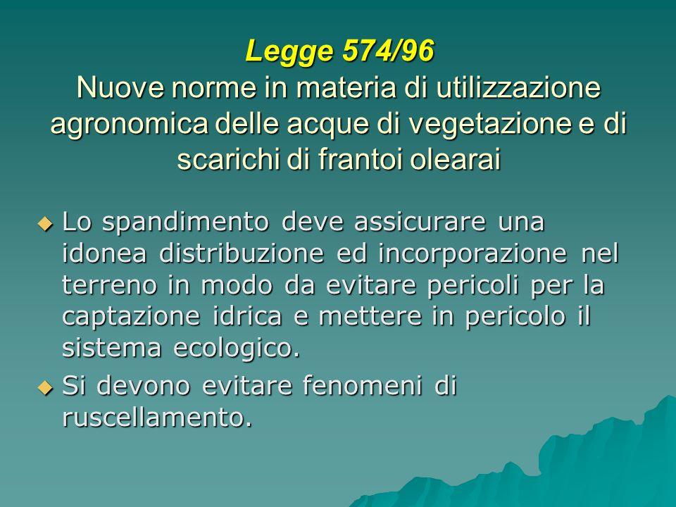 Legge 574/96 Nuove norme in materia di utilizzazione agronomica delle acque di vegetazione e di scarichi di frantoi olearai Lo spandimento deve assicu