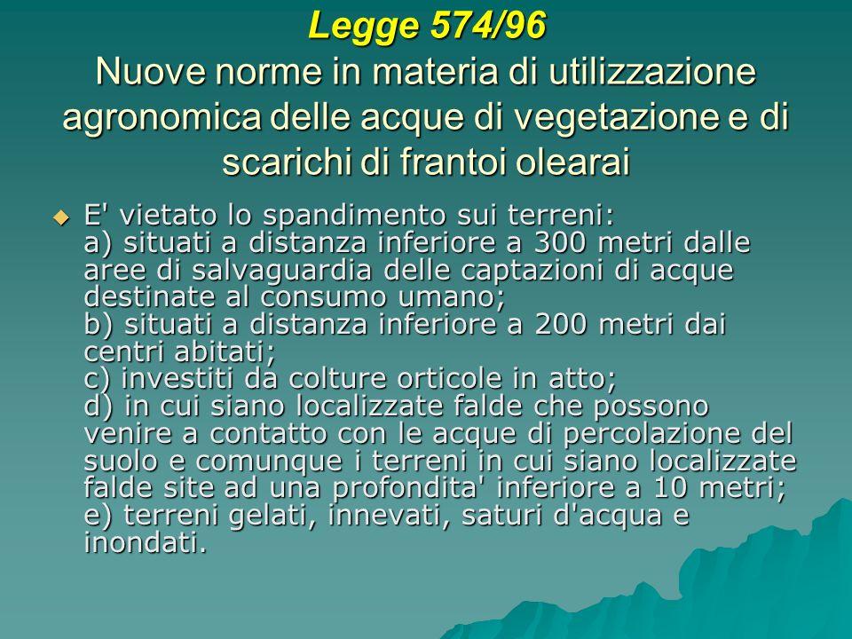 Legge 574/96 Nuove norme in materia di utilizzazione agronomica delle acque di vegetazione e di scarichi di frantoi olearai E' vietato lo spandimento