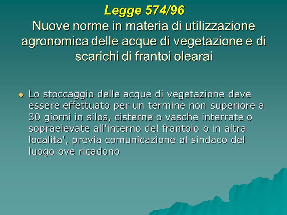 Legge 574/96 Nuove norme in materia di utilizzazione agronomica delle acque di vegetazione e di scarichi di frantoi olearai Lo stoccaggio delle acque
