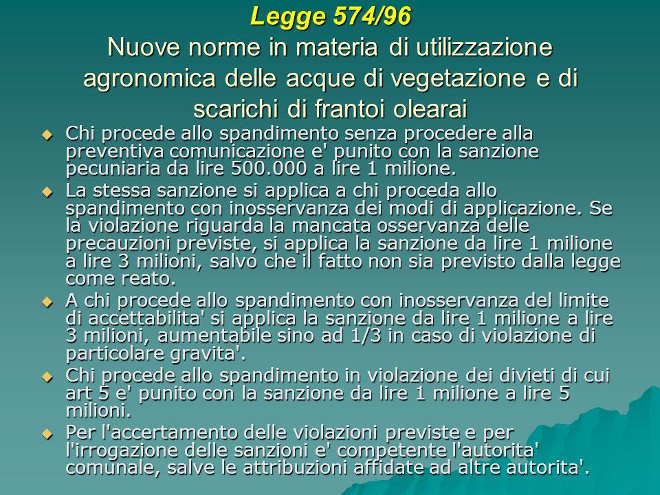 Legge 574/96 Nuove norme in materia di utilizzazione agronomica delle acque di vegetazione e di scarichi di frantoi olearai Chi procede allo spandimento senza procedere alla preventiva comunicazione e punito con la sanzione pecuniaria da lire 500.000 a lire 1 milione.