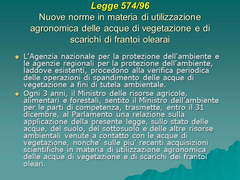 Legge 574/96 Nuove norme in materia di utilizzazione agronomica delle acque di vegetazione e di scarichi di frantoi olearai L'Agenzia nazionale per la