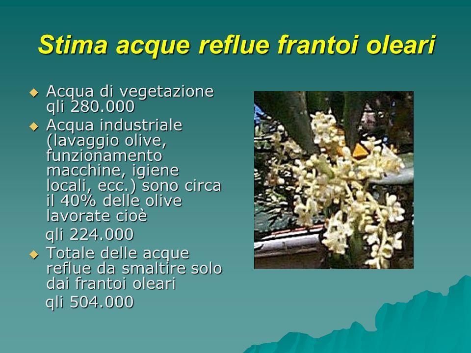 Stima acque reflue frantoi oleari Acqua di vegetazione qli 280.000 Acqua di vegetazione qli 280.000 Acqua industriale (lavaggio olive, funzionamento m