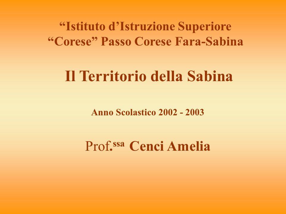 Il Territorio della Sabina Istituto dIstruzione Superiore Corese Passo Corese Fara-Sabina Anno Scolastico 2002 - 2003 Prof. ssa Cenci Amelia