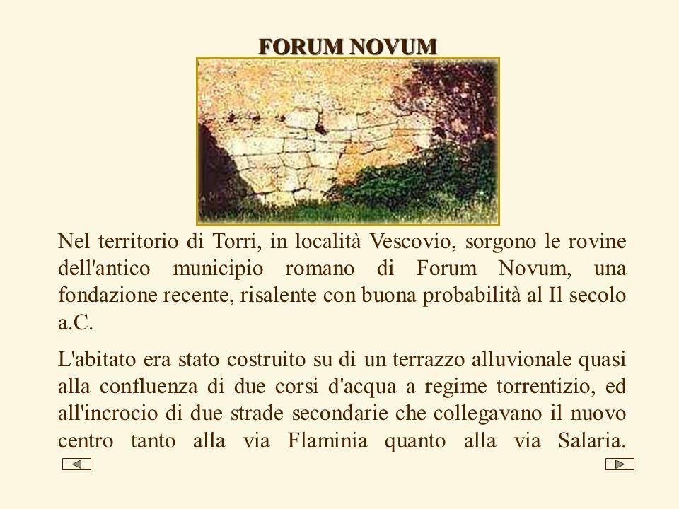 Nel territorio di Torri, in località Vescovio, sorgono le rovine dell antico municipio romano di Forum Novum, una fondazione recente, risalente con buona probabilità al Il secolo a.C.
