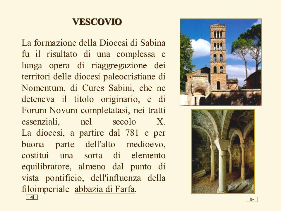 La formazione della Diocesi di Sabina fu il risultato di una complessa e lunga opera di riaggregazione dei territori delle diocesi paleocristiane di N