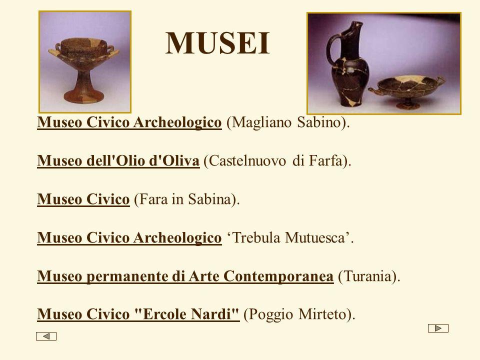MUSEI Museo Civico Archeologico (Magliano Sabino). Museo dell'Olio d'Oliva (Castelnuovo di Farfa). Museo Civico (Fara in Sabina). Museo Civico Archeol