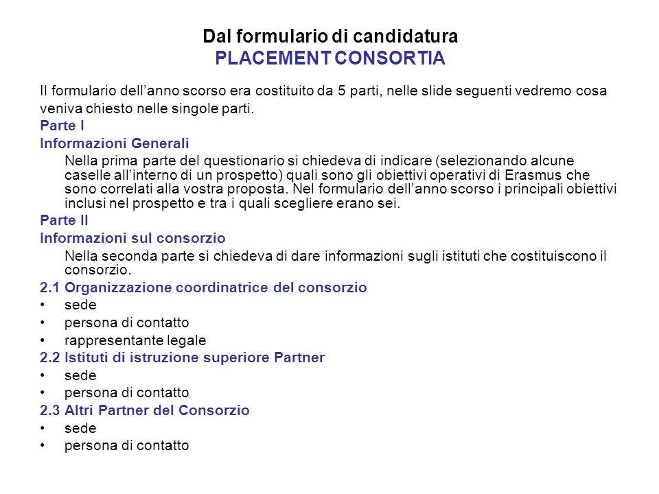 Dal formulario di candidatura PLACEMENT CONSORTIA Il formulario dellanno scorso era costituito da 5 parti, nelle slide seguenti vedremo cosa veniva chiesto nelle singole parti.