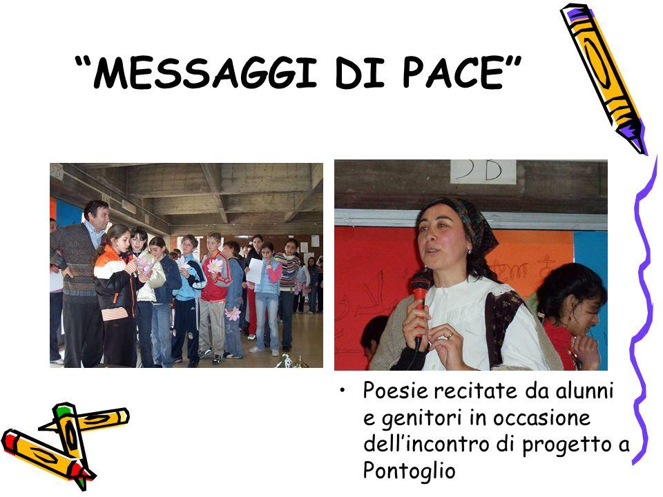 MESSAGGI DI PACE Poesie recitate da alunni e genitori in occasione dellincontro di progetto a Pontoglio