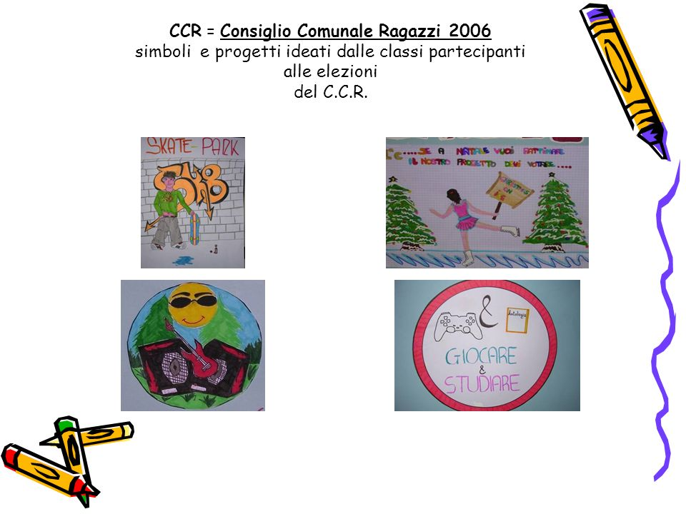 CCR = Consiglio Comunale Ragazzi 2006 simboli e progetti ideati dalle classi partecipanti alle elezioni del C.C.R.