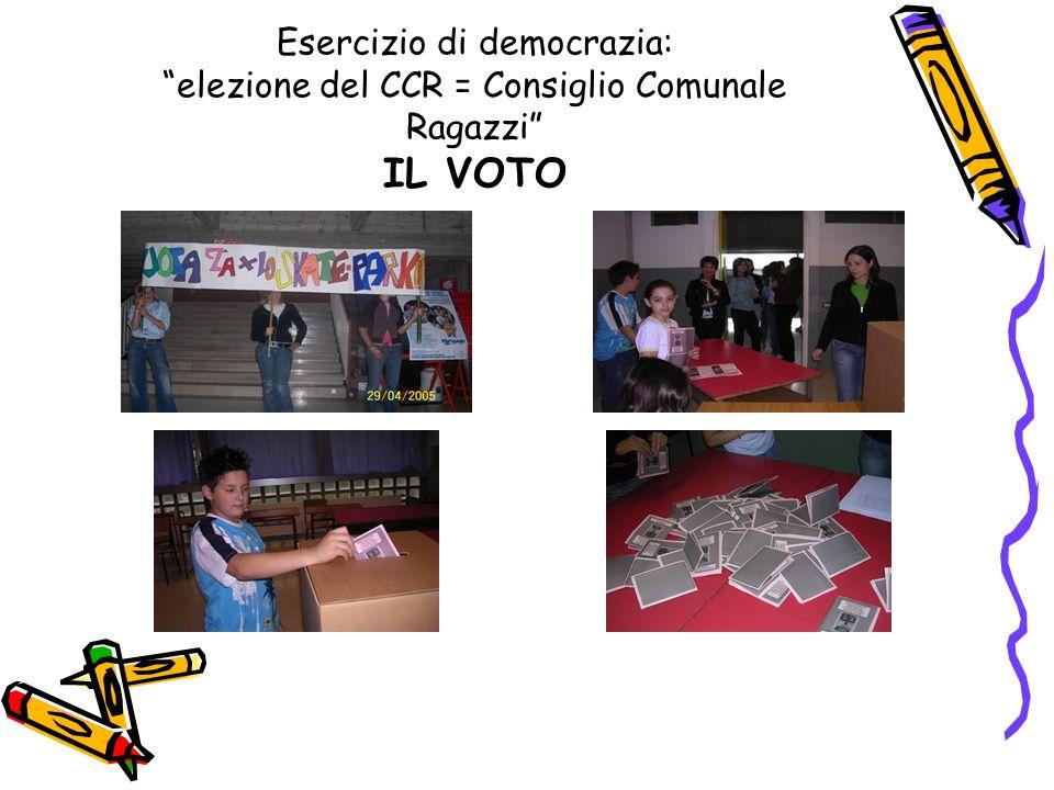 Esercizio di democrazia: elezione del CCR = Consiglio Comunale Ragazzi IL VOTO