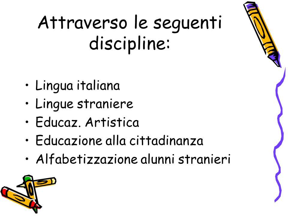 Attraverso le seguenti discipline: Lingua italiana Lingue straniere Educaz. Artistica Educazione alla cittadinanza Alfabetizzazione alunni stranieri