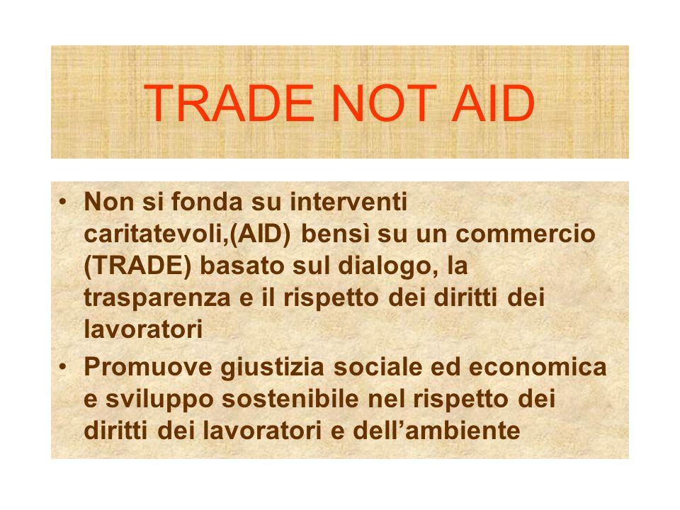 TRADE NOT AID Non si fonda su interventi caritatevoli,(AID) bensì su un commercio (TRADE) basato sul dialogo, la trasparenza e il rispetto dei diritti dei lavoratori Promuove giustizia sociale ed economica e sviluppo sostenibile nel rispetto dei diritti dei lavoratori e dellambiente