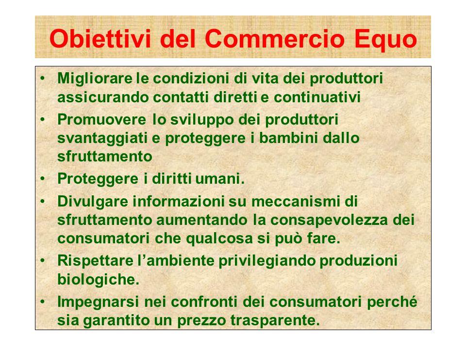 Obiettivi del Commercio Equo Migliorare le condizioni di vita dei produttori assicurando contatti diretti e continuativi Promuovere lo sviluppo dei pr