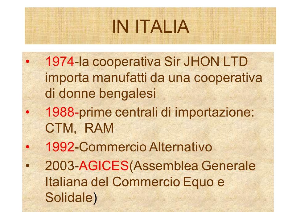 IN ITALIA 1974-la cooperativa Sir JHON LTD importa manufatti da una cooperativa di donne bengalesi 1988-prime centrali di importazione: CTM, RAM 1992-