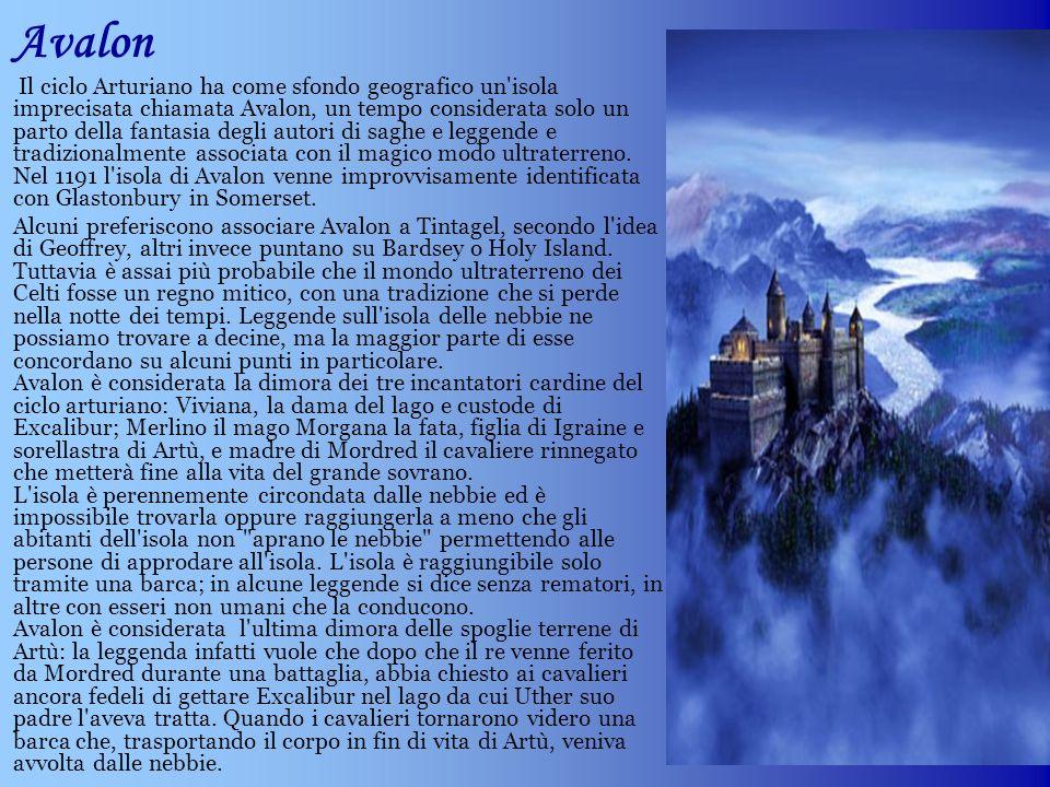 Avalon Il ciclo Arturiano ha come sfondo geografico un'isola imprecisata chiamata Avalon, un tempo considerata solo un parto della fantasia degli auto