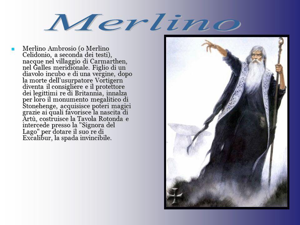 Merlino Ambrosio (o Merlino Celidonio, a seconda dei testi), nacque nel villaggio di Carmarthen, nel Galles meridionale. Figlio di un diavolo incubo e